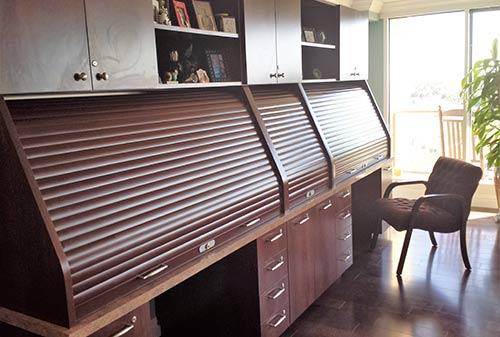 Rolling Tambour Security Door with wood grain finish