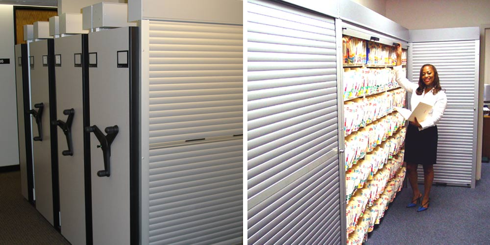 Rollok Silver rolling doors on Storage